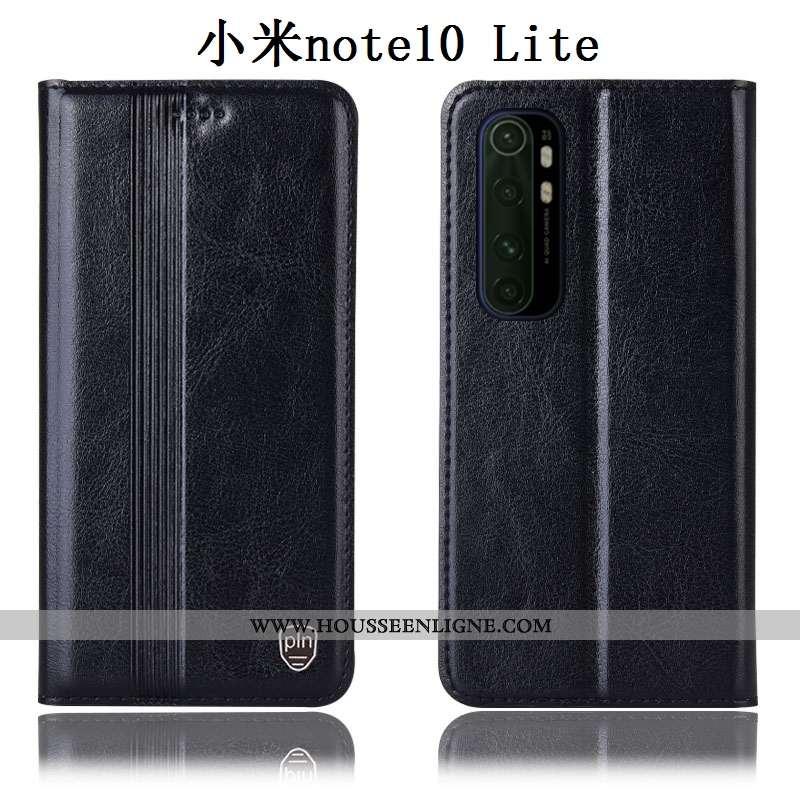 Étui Xiaomi Mi Note 10 Lite Cuir Véritable Protection Noir Tout Compris Petit Incassable Coque
