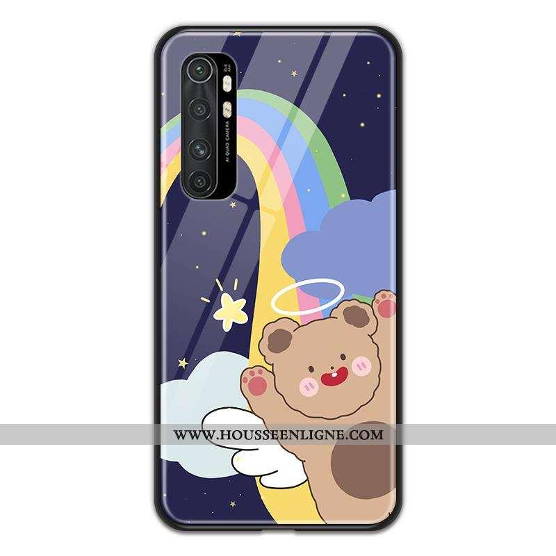 Étui Xiaomi Mi Note 10 Lite Verre Dessin Animé Coque Incassable Amoureux Petit Jeunesse Violet