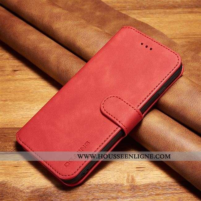 Étui Xiaomi Mi Note 10 Protection Cuir Véritable Rouge Incassable Cuir Business