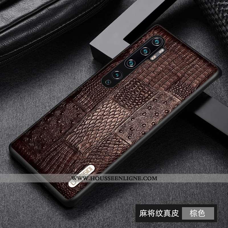 Étui Xiaomi Mi Note 10 Protection Cuir Véritable Téléphone Portable Petit Difficile Ultra Marron
