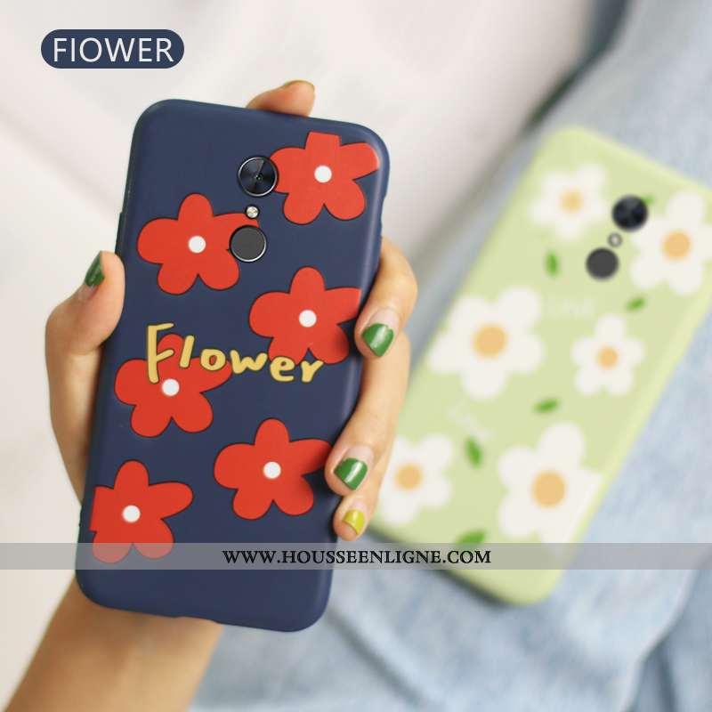 Étui Xiaomi Redmi 5 Fluide Doux Protection Fleur Bleu Marin Rouge Téléphone Portable Amoureux Bleu F