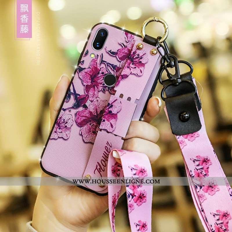 Étui Xiaomi Redmi 7 Tendance Fluide Doux Style Chinois Rose Silicone Incassable Petit