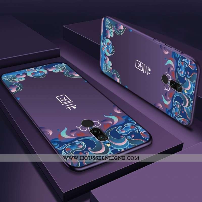 Étui Xiaomi Redmi 8 Délavé En Daim Personnalité Violet Difficile Téléphone Portable Rouge Coque