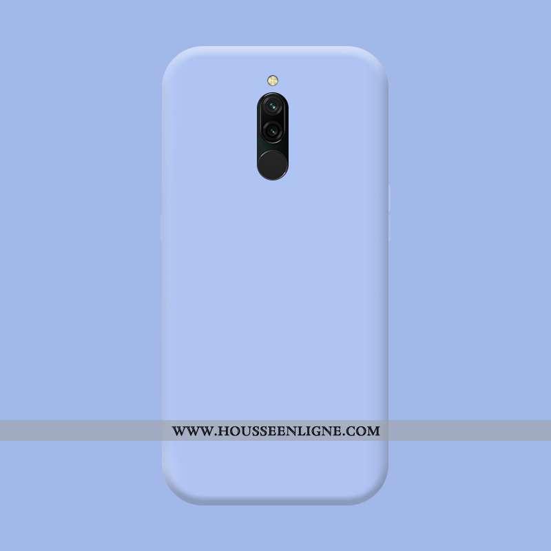 Étui Xiaomi Redmi 8 Délavé En Daim Tendance Bleu Téléphone Portable Fluide Doux Silicone