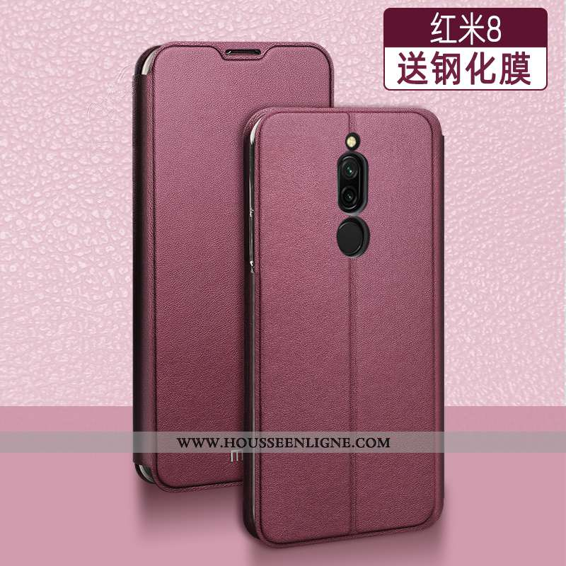 Étui Xiaomi Redmi 8 Silicone Protection Coque Tendance Clamshell Cuir Incassable Rouge