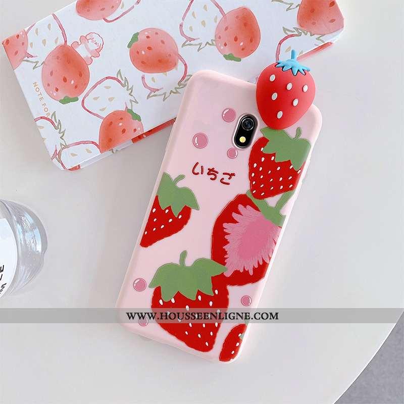 Étui Xiaomi Redmi 8a Charmant Tendance Fraise Vent Silicone Nouveau Petit Rose