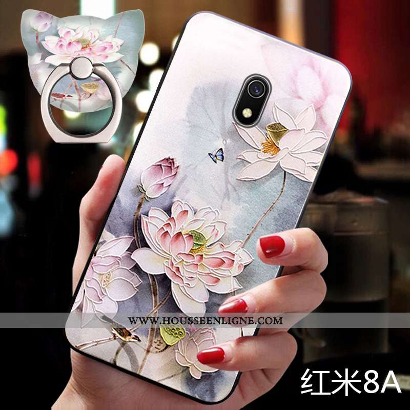 Étui Xiaomi Redmi 8a Silicone Protection Fluide Doux Support Rouge Ornements Suspendus Petit Rose