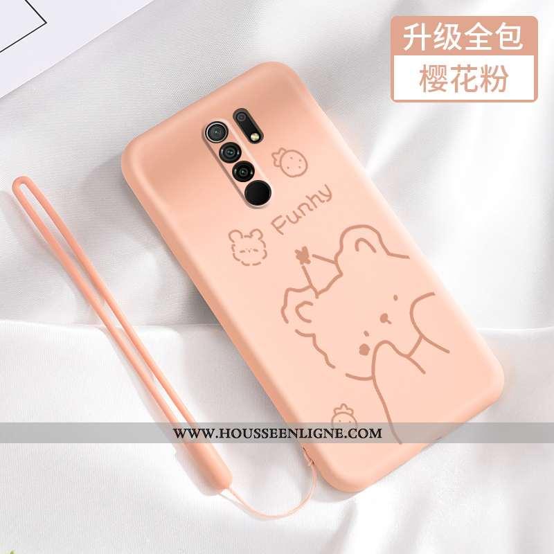 Étui Xiaomi Redmi 9 Fluide Doux Silicone Petit Net Rouge Délavé En Daim Protection Tout Compris Rose