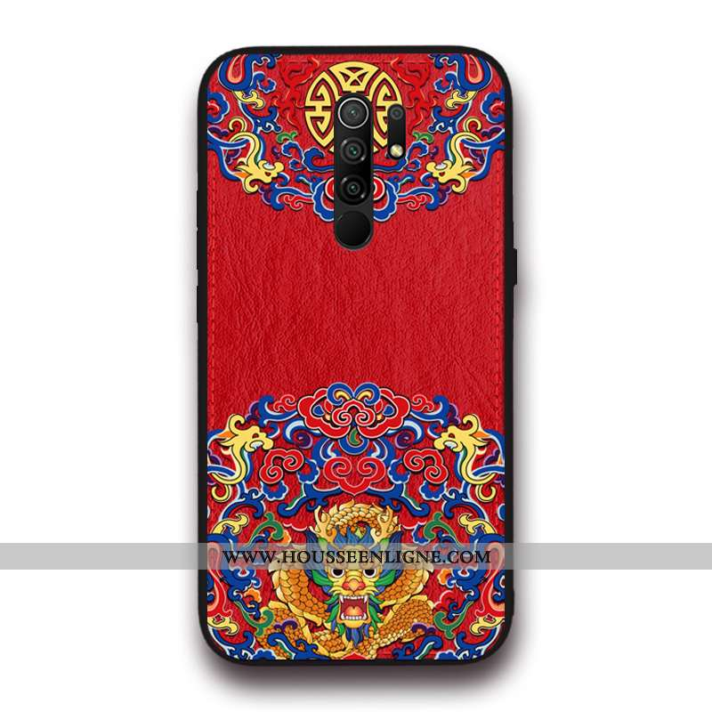 Étui Xiaomi Redmi 9 Original Tendance Petit Tout Compris Cuir Style Chinois Créatif Rouge