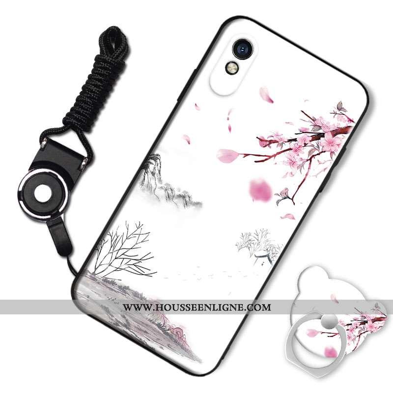 Étui Xiaomi Redmi 9a Fluide Doux Silicone Blanc Téléphone Portable Charmant Amoureux Coque Blanche