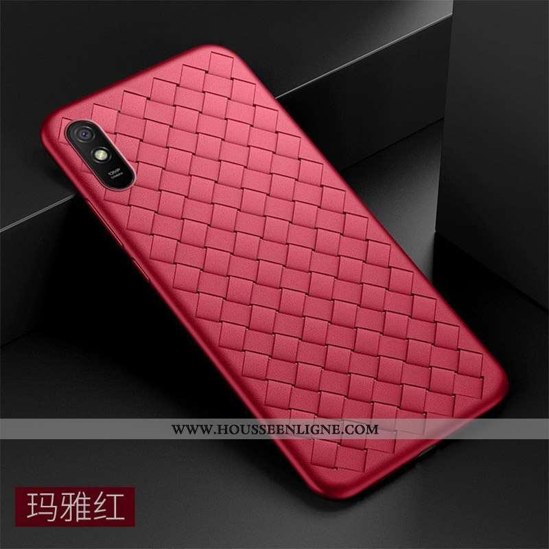 Étui Xiaomi Redmi 9a Fluide Doux Silicone Tout Compris Légère Rouge Incassable Tissage
