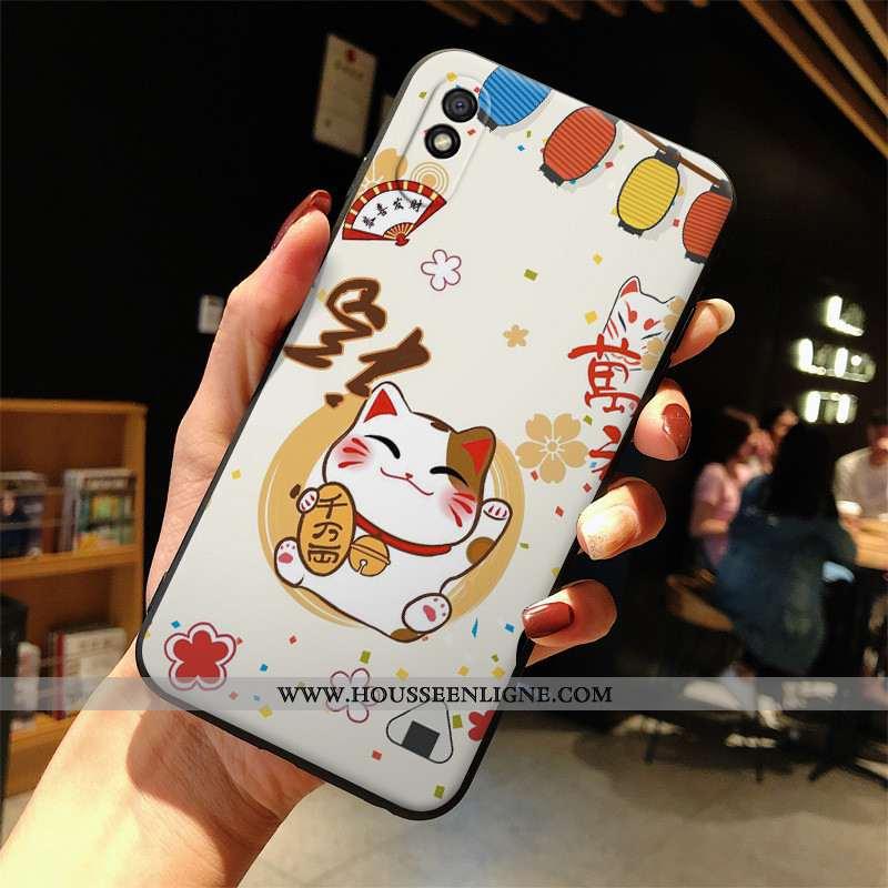 Étui Xiaomi Redmi 9a Protection Dessin Animé Blanc Mode Coque Silicone Blanche