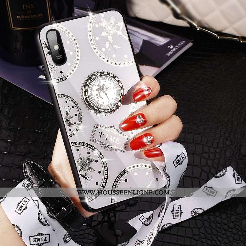 Étui Xiaomi Redmi 9a Verre Ornements Suspendus Créatif Mode Membrane Net Rouge Protection Blanche