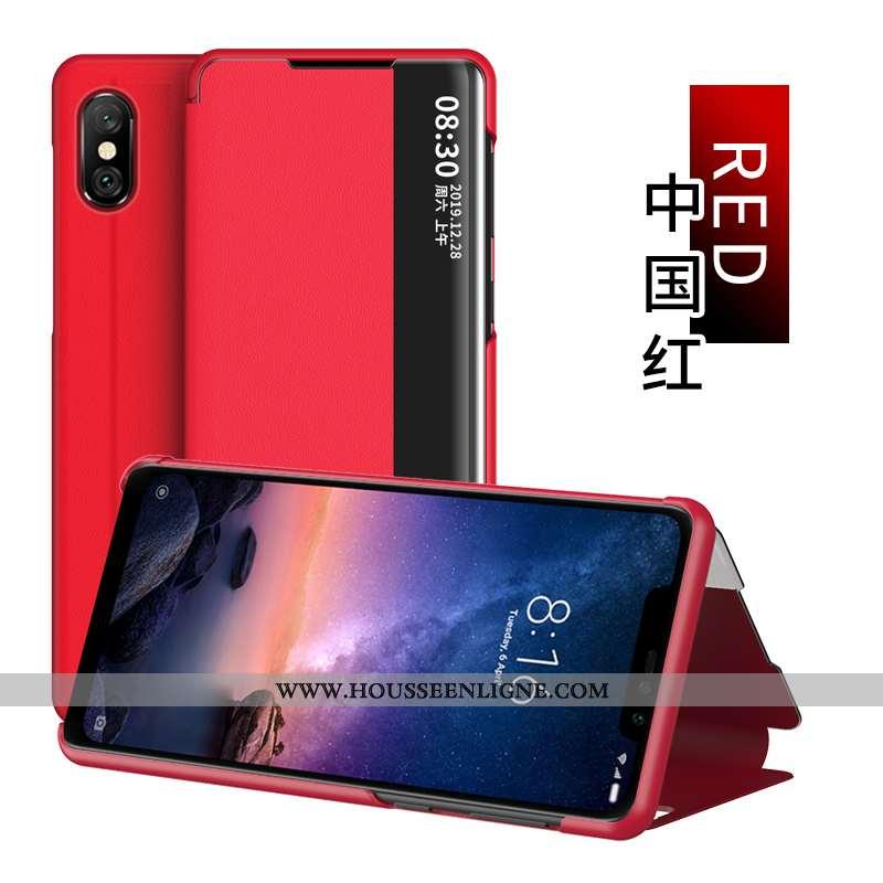 Étui Xiaomi Redmi Note 6 Pro Cuir Plier Rouge Windows Housse Coque