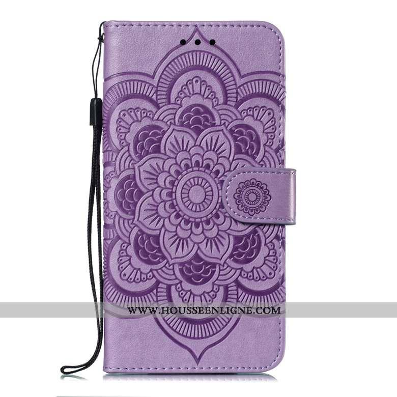 Étui Xiaomi Redmi Note 6 Pro Cuir Protection Téléphone Portable Clamshell Rouge Violet