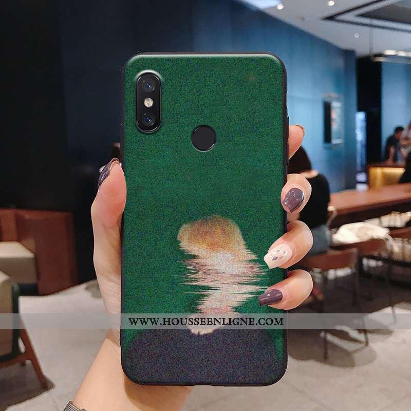 Étui Xiaomi Redmi Note 6 Pro Fluide Doux Silicone Vintage Peinte À La Main Charmant Coque Petit Vert