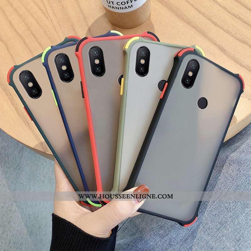 Étui Xiaomi Redmi Note 6 Pro Protection Délavé En Daim Petit Incassable Tout Compris Noir Rouge