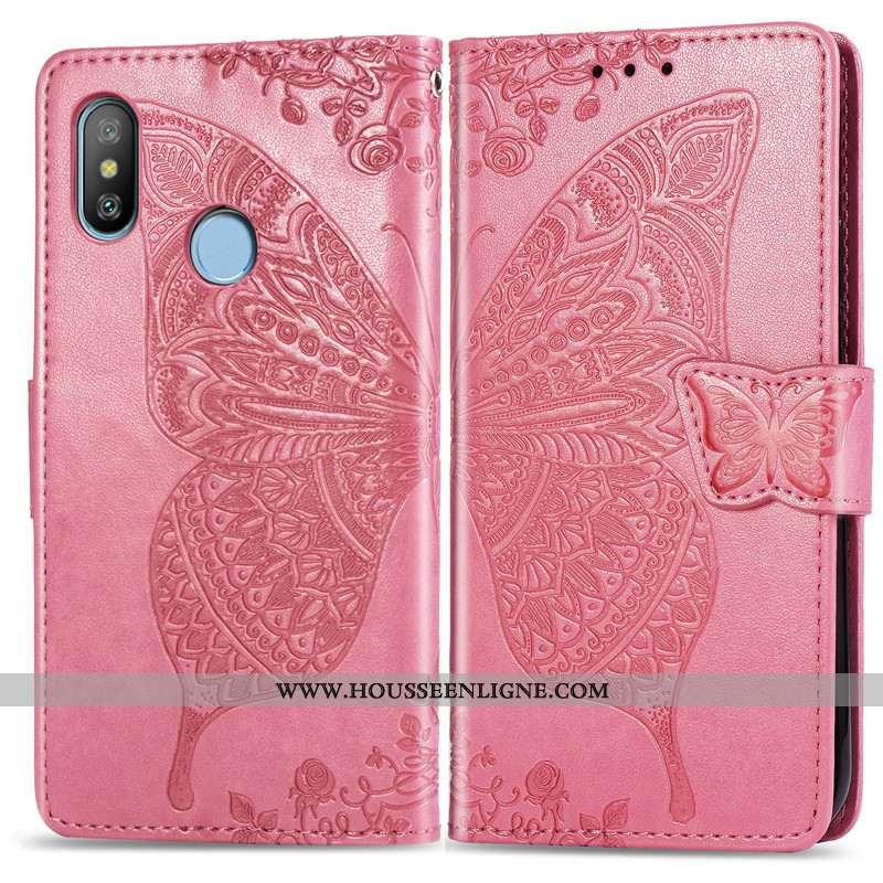 Étui Xiaomi Redmi Note 6 Pro Protection Ornements Suspendus Papillon Couleur Unie Charmant En Relief