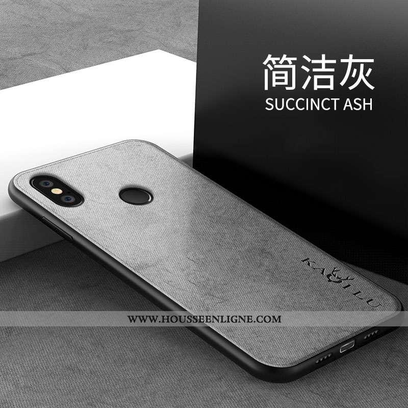 Étui Xiaomi Redmi Note 6 Pro Tendance Modèle Fleurie Silicone Personnalité Simple Gris Tout Compris
