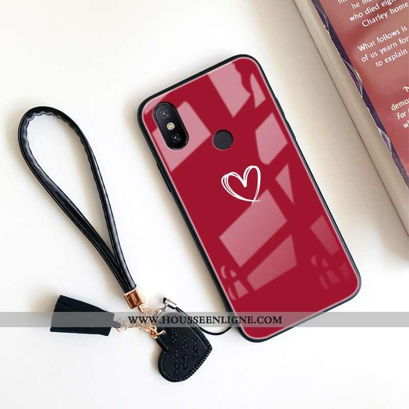 Étui Xiaomi Redmi Note 6 Pro Verre Tendance Petit Téléphone Portable Incassable Rouge