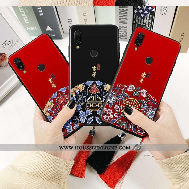 Étui Xiaomi Redmi Note 7 Imprimé Protection Personnalité Incassable Totem Rouge Créatif Noir