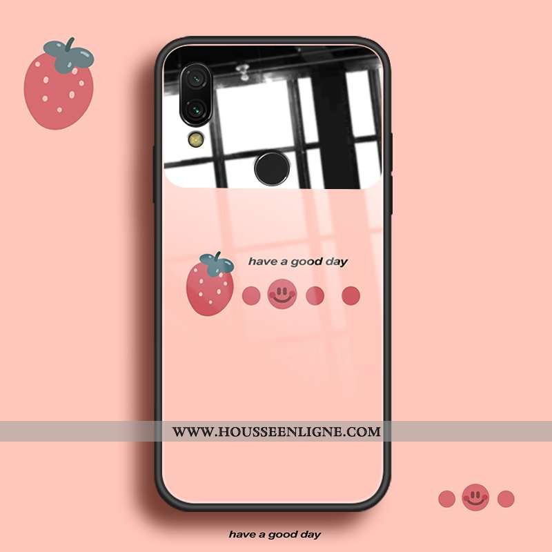 Étui Xiaomi Redmi Note 7 Protection Verre Frais Incassable Fluide Doux Rouge Rose