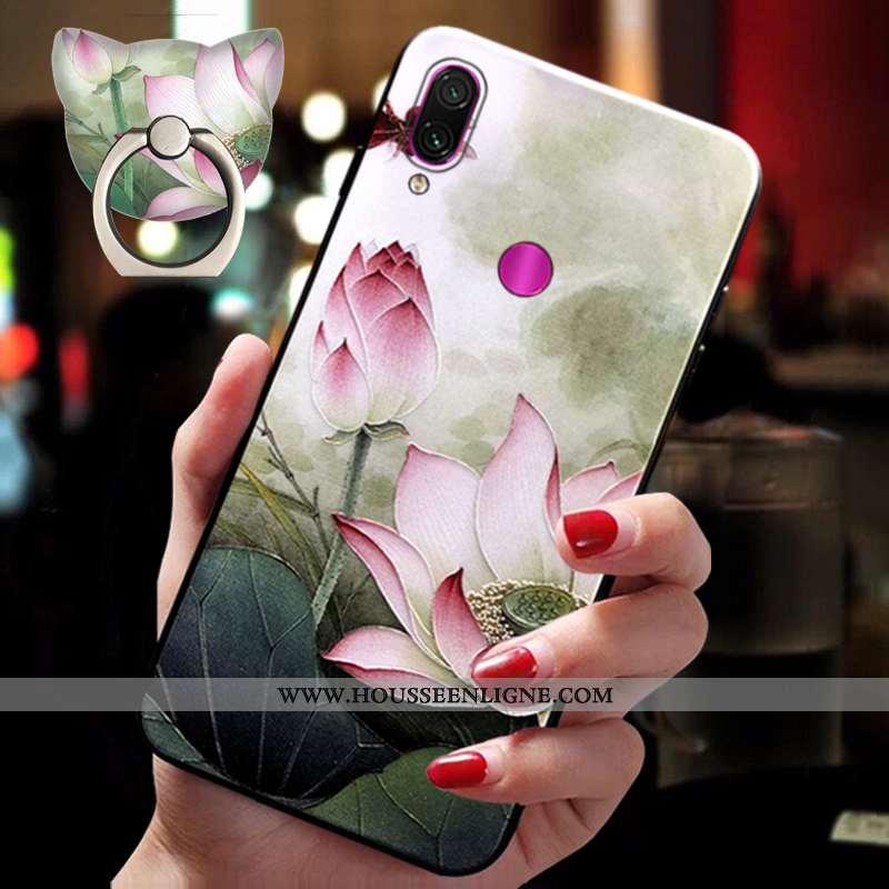 Étui Xiaomi Redmi Note 7 Silicone Ornements Suspendus Incassable Style Chinois Fleur Fluide Doux Coq