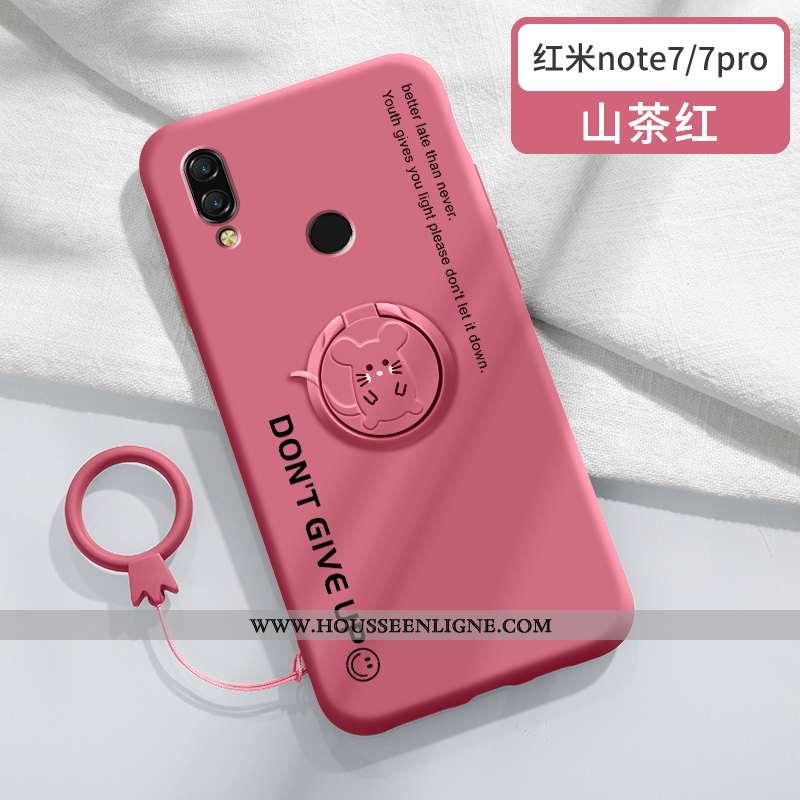 Étui Xiaomi Redmi Note 7 Tendance Silicone Créatif Coque Rat Personnalité Support Rouge