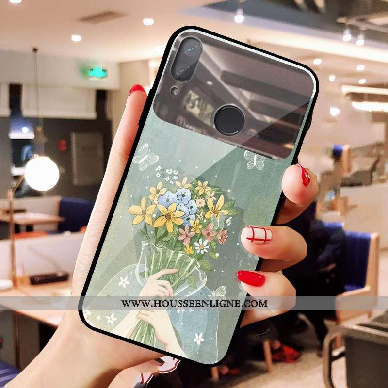 Étui Xiaomi Redmi Note 7 Verre Charmant Petit Téléphone Portable Vert Coque Maquillage Verte