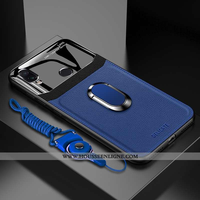 Étui Xiaomi Redmi Note 7 Verre Tendance Incassable Téléphone Portable Bleu Petit