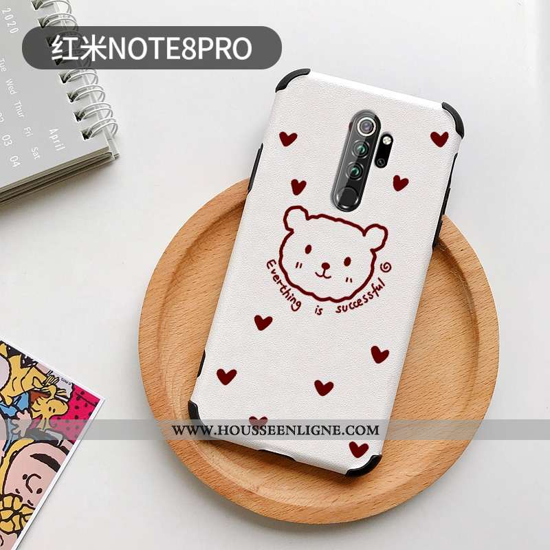 Étui Xiaomi Redmi Note 8 Pro Silicone Mode Incassable Petit Coque Rouge Téléphone Portable Blanche