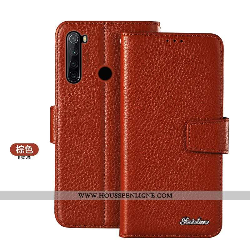 Étui Xiaomi Redmi Note 8t Protection Cuir Véritable Téléphone Portable Petit Housse Carte Marron