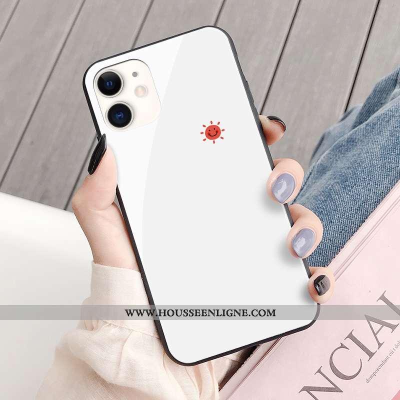 Étui iPhone 11 Créatif Mode Amoureux Verre Frais Simple Téléphone Portable Blanche