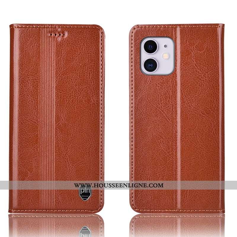 Étui iPhone 11 Cuir Véritable Protection Incassable Housse Téléphone Portable Coque Marron