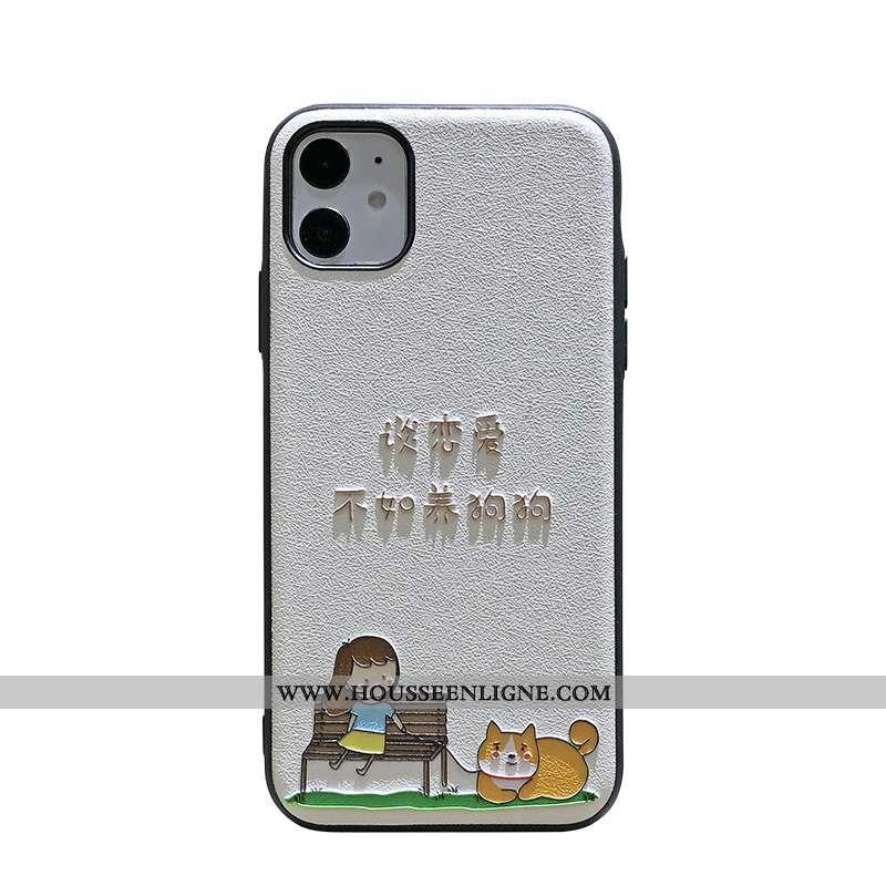 Étui iPhone 11 Délavé En Daim Gaufrage Coque Chiens Bordure Incassable Amoureux Blanche