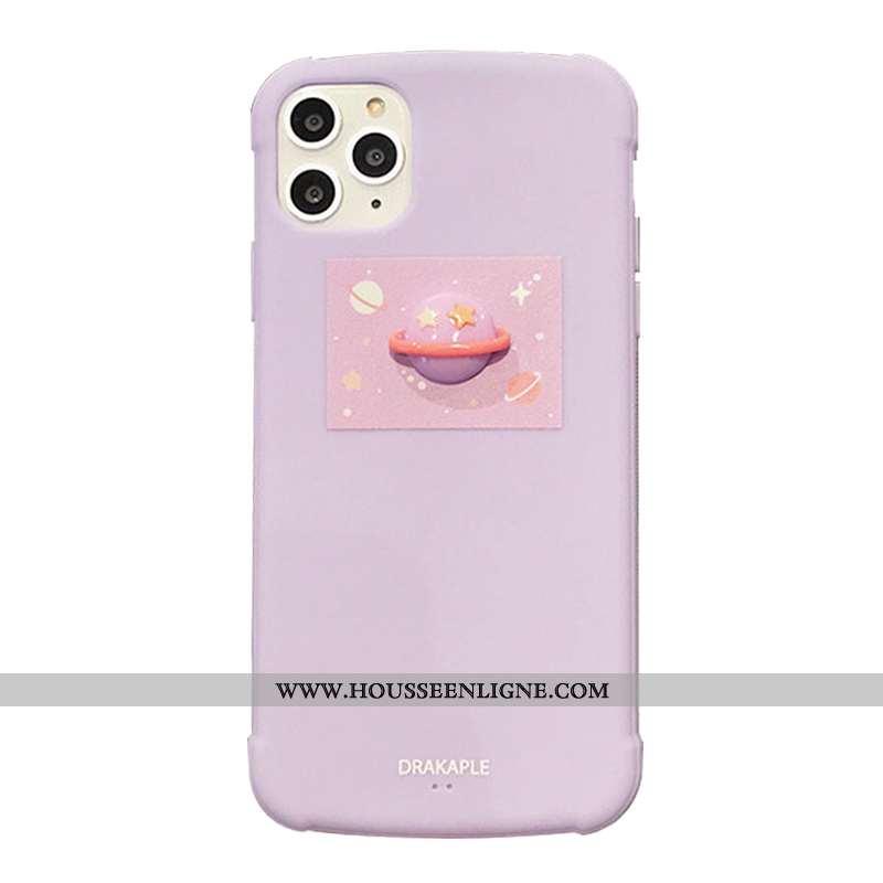 Étui iPhone 11 Pro Fluide Doux Délavé En Daim Couleur Unie Incassable Planète Tout Compris Coque Ros