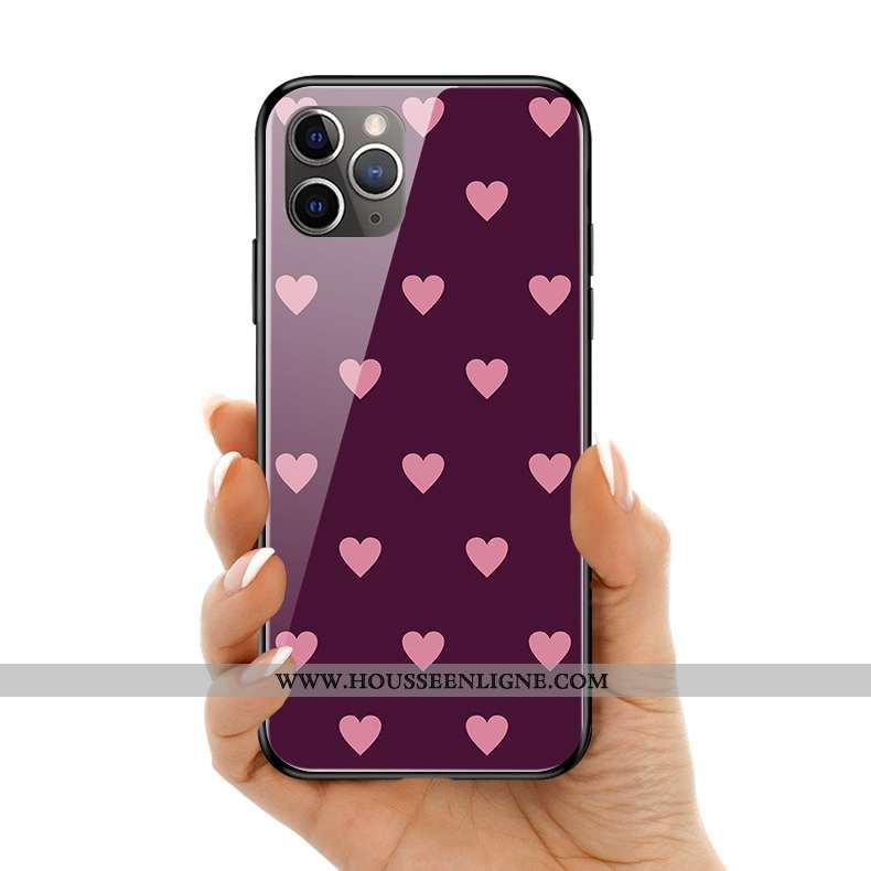 Étui iPhone 11 Pro Max Charmant Silicone Amoureux Verre Coque Téléphone Portable Simple Violet