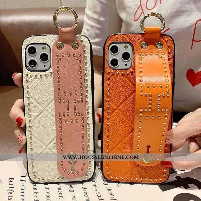 Étui iPhone 11 Pro Max Créatif Cuir Véritable Orange Tendance Tout Compris Luxe Mode
