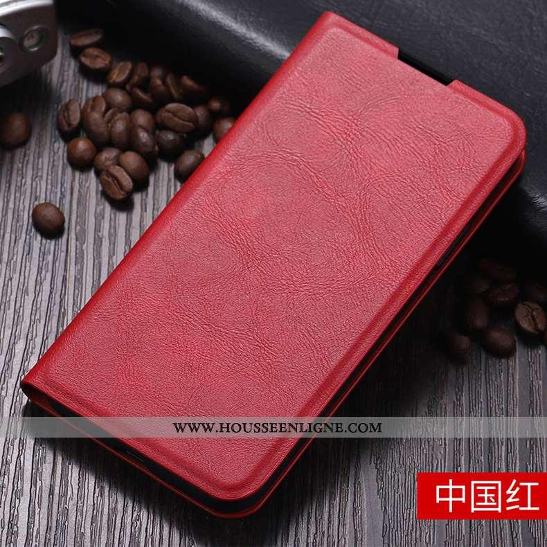 Étui iPhone 11 Pro Max Cuir Silicone Téléphone Portable Protection Clamshell Coque Net Rouge