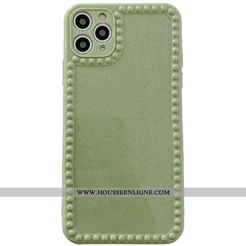 Étui iPhone 11 Pro Max Fluide Doux Silicone Téléphone Portable Créatif Amoureux Couleur Unie Verte