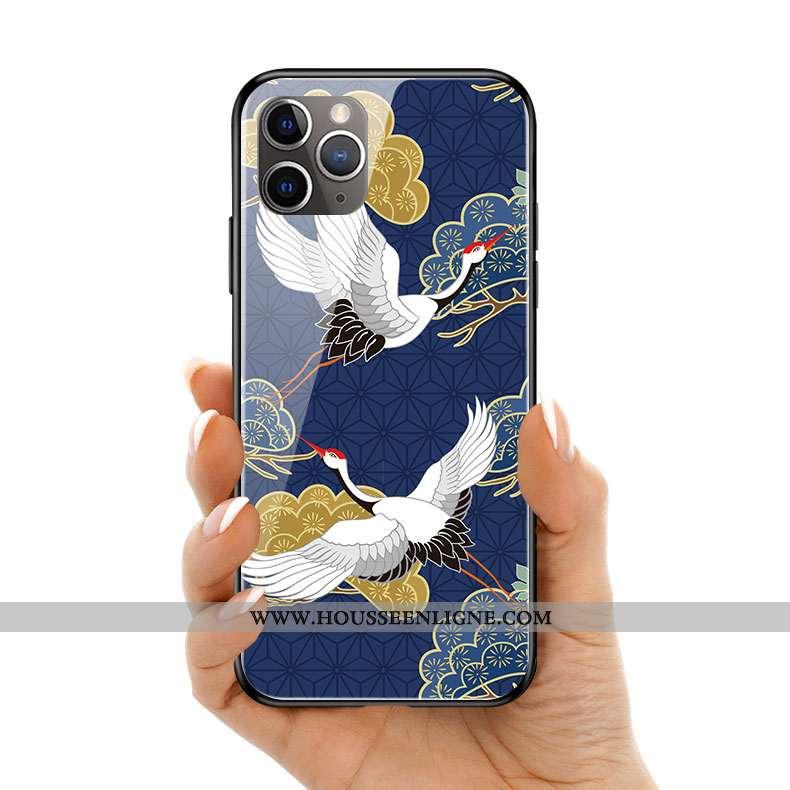 Étui iPhone 11 Pro Max Original Silicone Verre Bleu Personnalité Coque Art