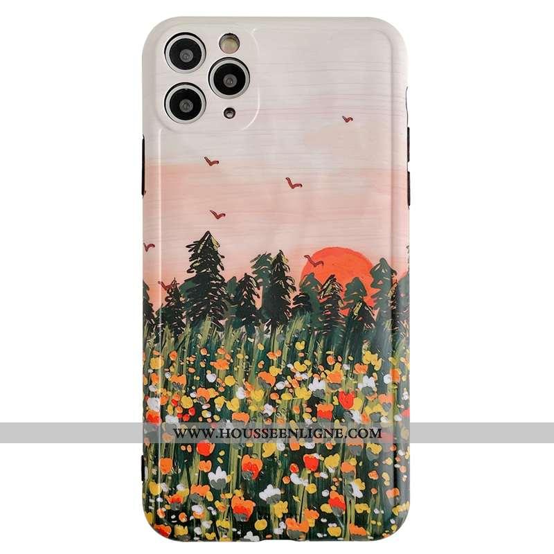 Étui iPhone 11 Pro Max Protection Personnalité Peinte À La Main Clair Téléphone Portable Fleur Créat