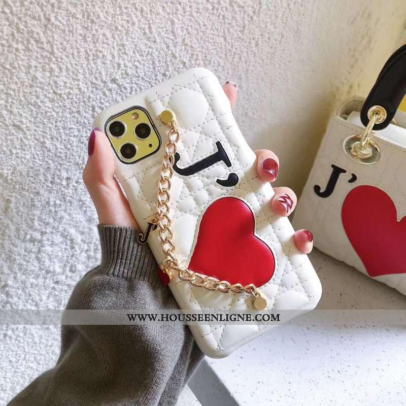 Étui iPhone 11 Pro Max Protection Tendance Cuir Coque Europe Vent Téléphone Portable Blanche