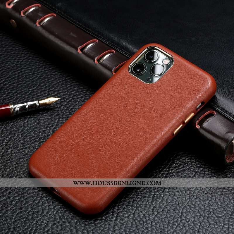 Étui iPhone 11 Pro Modèle Fleurie Protection Cuir Cuir Véritable Tout Compris Simple Luxe Marron
