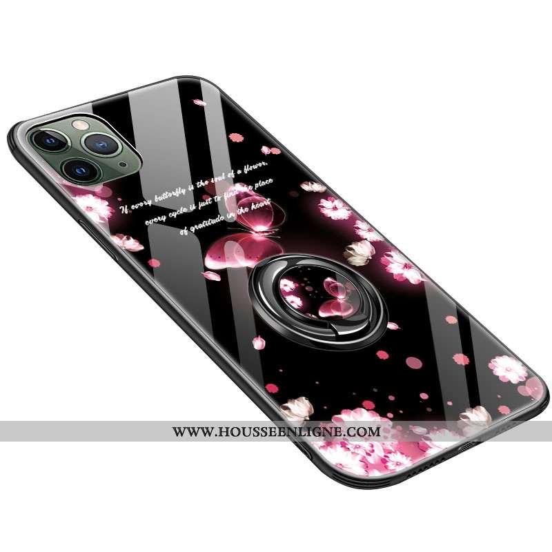 Étui iPhone 11 Pro Personnalité Créatif Verre Coque Noir Protection Fluide Doux