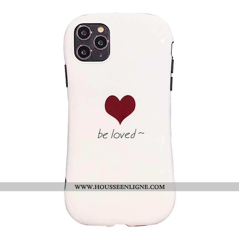 Étui iPhone 11 Pro Silicone Fluide Doux Amour Téléphone Portable Petit Incassable Blanche