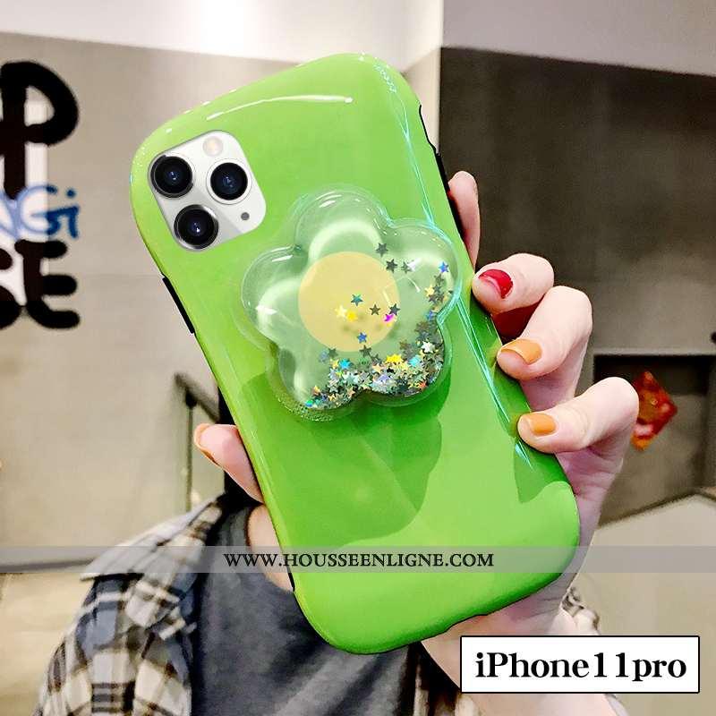 Étui iPhone 11 Pro Silicone Tendance Incassable Frais Vert Petit Fleur Verte