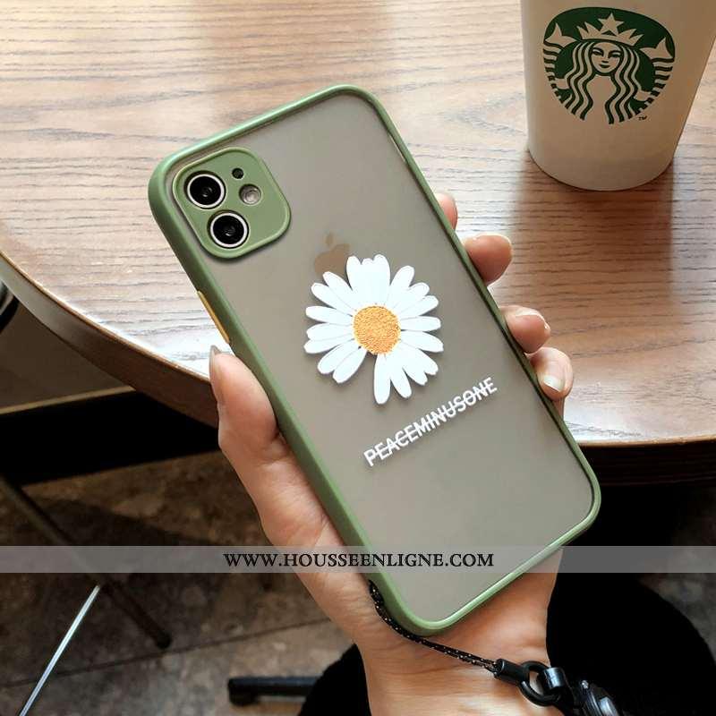 Étui iPhone 11 Silicone Protection Petite Marguerite Vert Téléphone Portable Coque Verte
