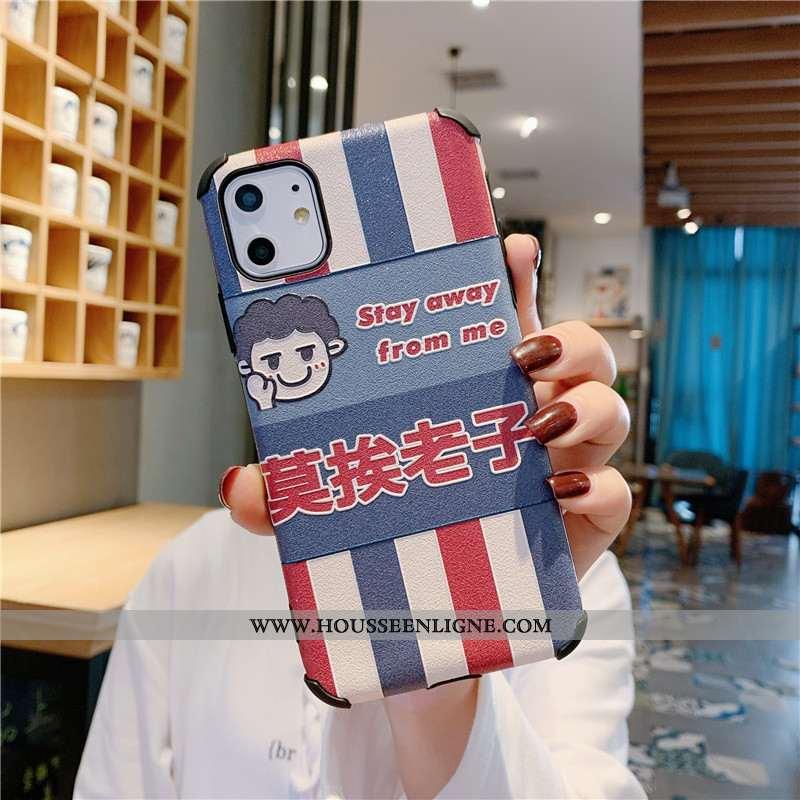 Étui iPhone 11 Tendance Cuir Téléphone Portable Gaufrage Mode Soie Mulberry Fluide Doux Bleu