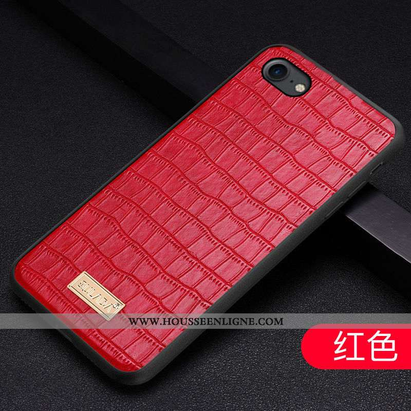 Étui iPhone 6/6s Cuir Véritable Tendance Luxe Modèle Fleurie Mode Coque Téléphone Portable Rouge